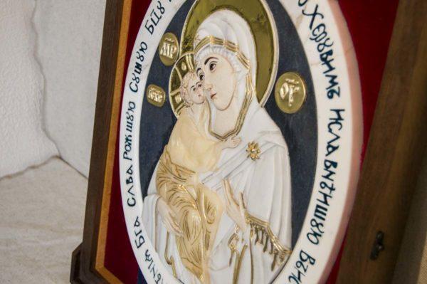 Икона Жировицкой Божией Матери (Богоматерь) № 6 (рельефная) из мрамора, камня, изображение, фото 7