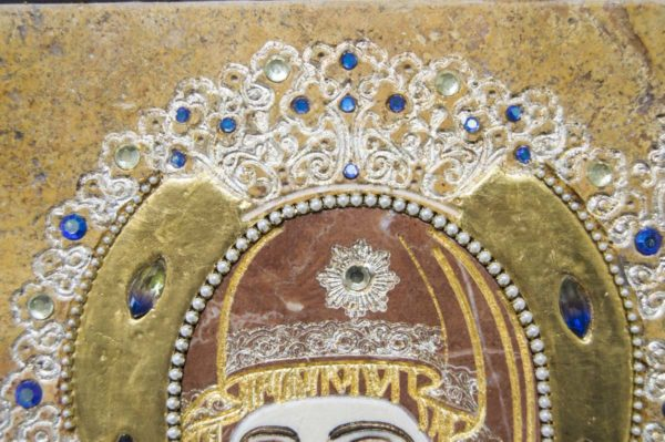 Икона Божией Матери Троеручица № 2-12-14 из мрамора, камня, изображение, фото 9