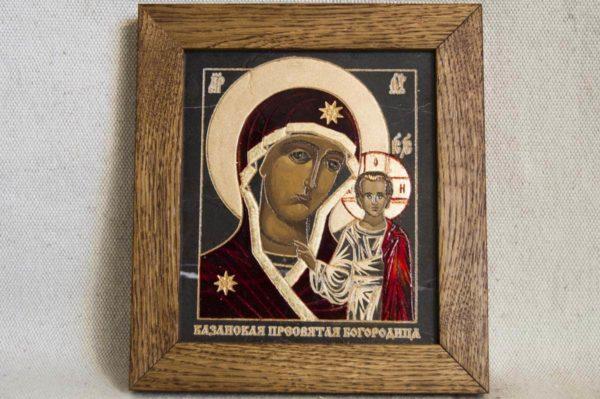 Икона Казанской Божией Матери № 1-05 подарочная из мрамора, камня, от Гливи, фото 1