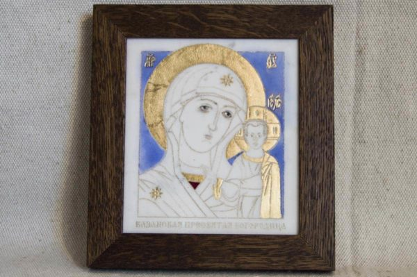 Икона Казанской Божией Матери № 35 подарочная из мрамора, камня, от Гливи, фото 1