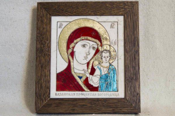 Икона Казанской Божией Матери № 36 подарочная из мрамора, камня, от Гливи, фото 1