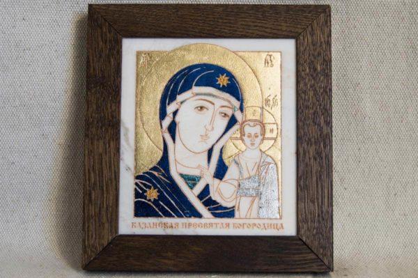 Икона Казанской Божией Матери № 37 подарочная из мрамора, камня, от Гливи, фото 1