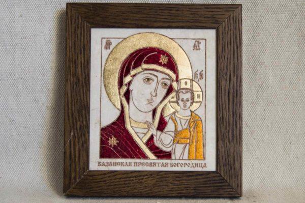 Икона Казанской Божией Матери № 38 подарочная из мрамора, камня, от Гливи, фото 1