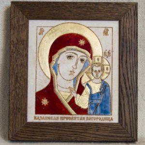 Икона Казанской Божией Матери № 40 подарочная из мрамора, камня, от Гливи, фото 1