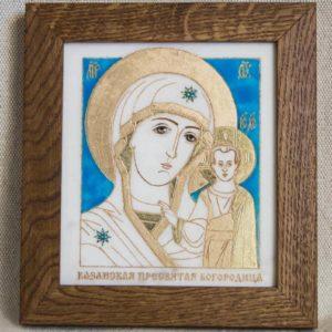 Икона Казанской Божией Матери № 41 подарочная из мрамора, камня, от Гливи, фото 1