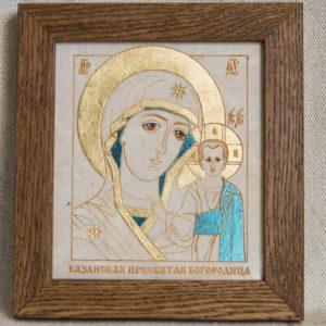 Икона Казанской Божией Матери № 43 подарочная из мрамора, камня, от Гливи, фото 1