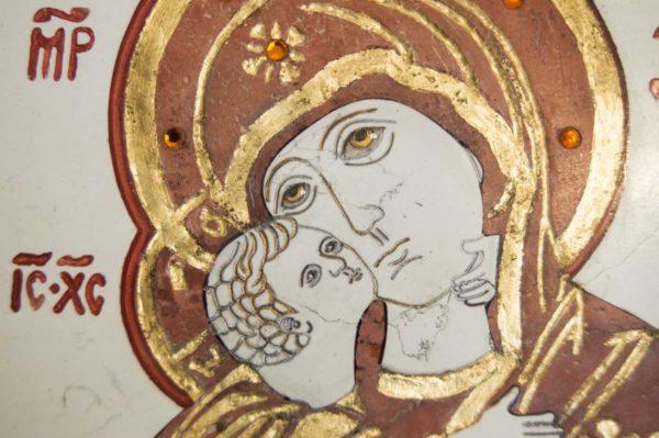 Икона Владимирской Божией Матери № 4 из мрамора, камня, от Гливи, фото 4