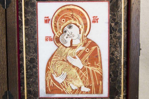 Икона Владимирской Божией Матери № 8 из мрамора, камня, от Гливи, фото 2