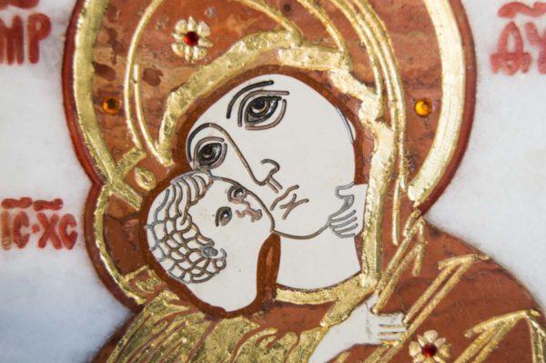 Икона Владимирской Божией Матери № 8 из мрамора, камня, от Гливи, фото 3