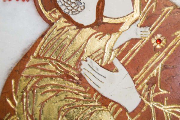 Икона Владимирской Божией Матери № 8 из мрамора, камня, от Гливи, фото 5