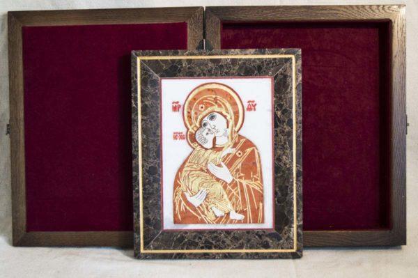 Икона Владимирской Божией Матери № 8 из мрамора, камня, от Гливи, фото 7