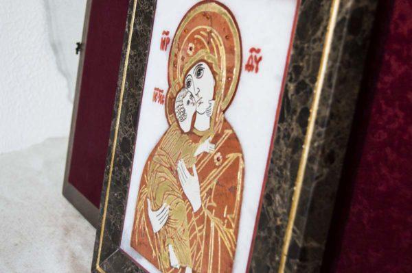 Икона Владимирской Божией Матери № 8 из мрамора, камня, от Гливи, фото 8