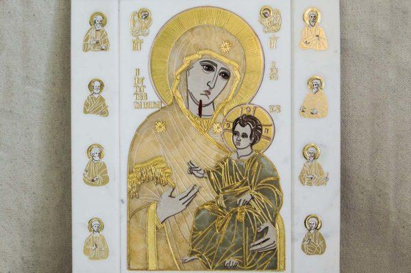 Икона Иверской Божией Матери № 1-25-1 из мрамора, камня, от Гливи, фото 2