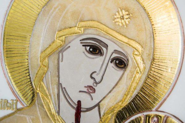 Икона Иверской Божией Матери № 1-25-1 из мрамора, камня, от Гливи, фото 1