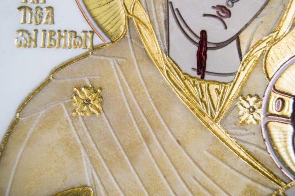 Икона Иверской Божией Матери № 1-25-1 из мрамора, камня, от Гливи, фото 3