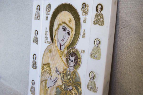 Икона Иверской Божией Матери № 1-25-1 из мрамора, камня, от Гливи, фото 14