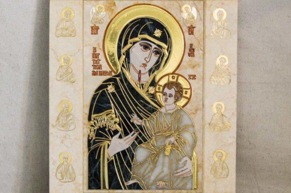 Икона Иверской Божией Матери № 1-25-2 из мрамора, камня, от Гливи, фото 2