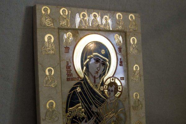 Икона Иверской Божией Матери № 1-25-2 из мрамора, камня, от Гливи, фото 12