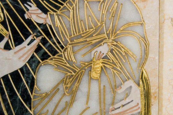 Икона Иверской Божией Матери № 1-25-2 из мрамора, камня, от Гливи, фото 5
