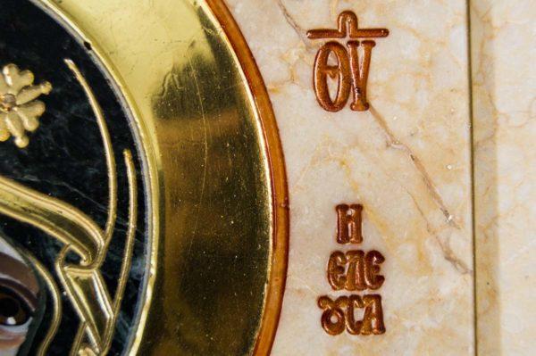 Икона Иверской Божией Матери № 1-25-2 из мрамора, камня, от Гливи, фото 8