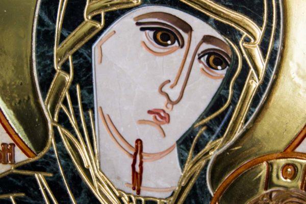 Икона Иверской Божией Матери № 1-25-2 из мрамора, камня, от Гливи, фото 3