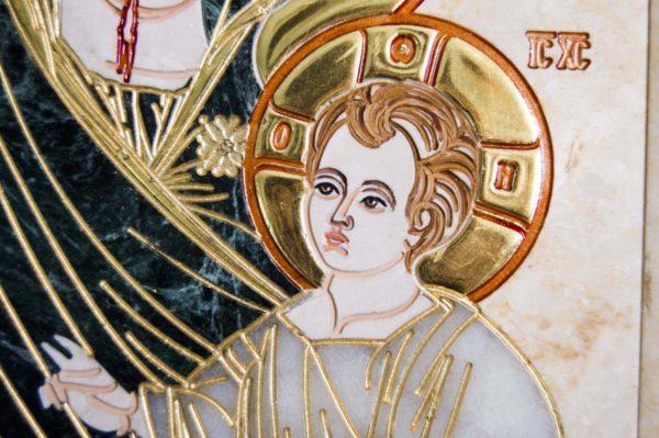 Икона Иверской Божией Матери № 1-25-2 из мрамора, камня, от Гливи, фото 1