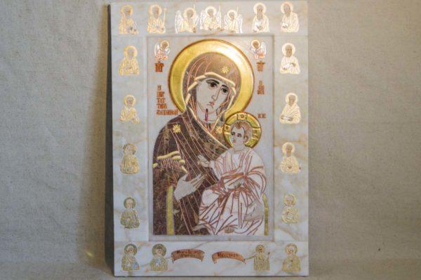 Икона Иверской Божией Матери № 1-25-4 из мрамора, камня, от Гливи, фото 8