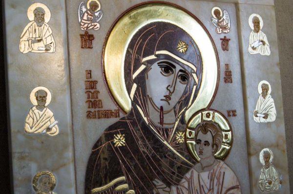 Икона Иверской Божией Матери № 1-25-4 из мрамора, камня, от Гливи, фото 7