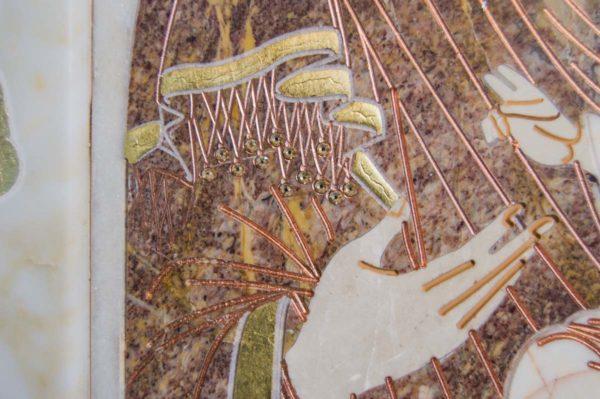 Икона Иверской Божией Матери № 1-25-4 из мрамора, камня, от Гливи, фото 4