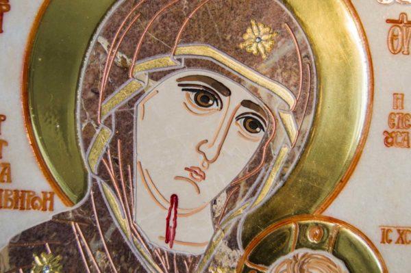 Икона Иверской Божией Матери № 1-25-4 из мрамора, камня, от Гливи, фото 6