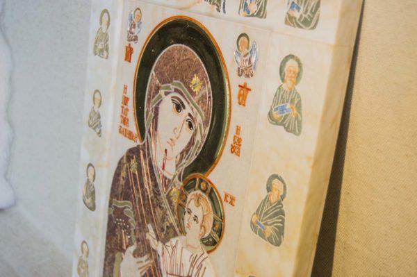 Икона Иверской Божией Матери № 1-25-4 из мрамора, камня, от Гливи, фото 3