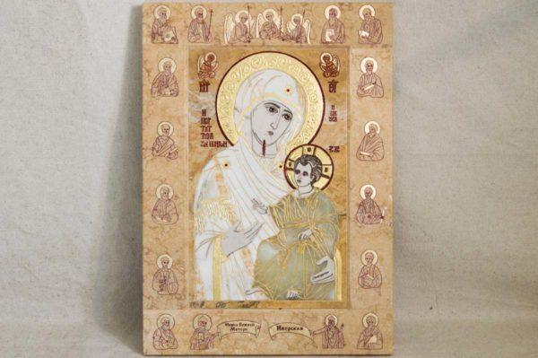 Икона Иверской Божией Матери № 1-25-5 из мрамора, камня, от Гливи, фото 8