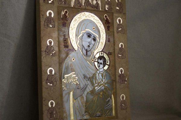 Икона Иверской Божией Матери № 1-25-5 из мрамора, камня, от Гливи, фото 6