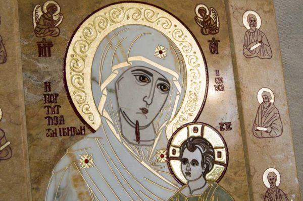 Икона Иверской Божией Матери № 1-25-5 из мрамора, камня, от Гливи, фото 7