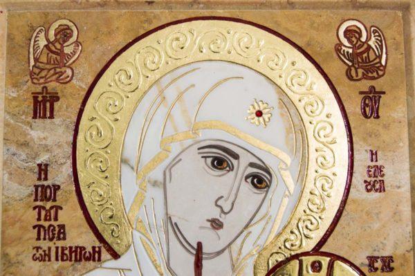 Икона Иверской Божией Матери № 1-25-5 из мрамора, камня, от Гливи, фото 4