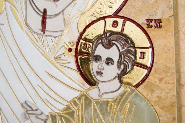 Икона Иверской Божией Матери № 1-25-5 из мрамора, камня, от Гливи, фото 2