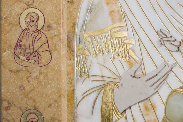 Икона Иверской Божией Матери № 1-25-5 из мрамора, камня, от Гливи, фото 1