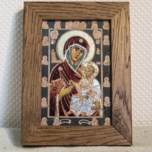 Икона Иверской Божией Матери № 11 подарочная из мрамора, камня, от Гливи, фото 1
