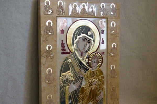 Икона Иверской Божией Матери № 1-25-7 из мрамора, камня, от Гливи, фото 8