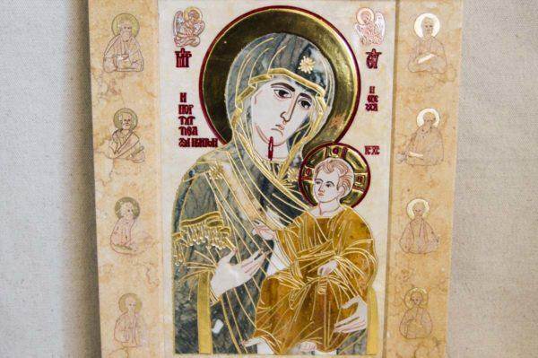 Икона Иверской Божией Матери № 1-25-7 из мрамора, камня, от Гливи, фото 13