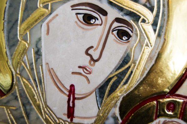 Икона Иверской Божией Матери № 1-25-7 из мрамора, камня, от Гливи, фото 16