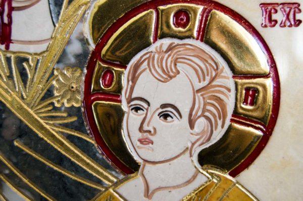 Икона Иверской Божией Матери № 1-25-7 из мрамора, камня, от Гливи, фото 9