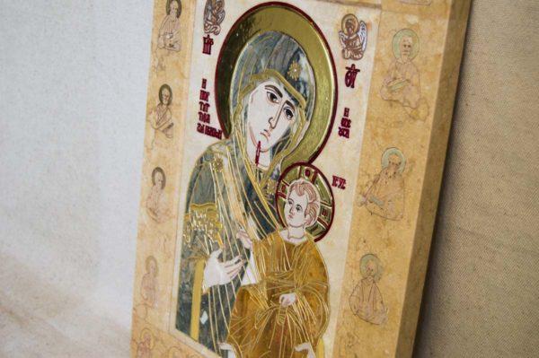 Икона Иверской Божией Матери № 1-25-7 из мрамора, камня, от Гливи, фото 4