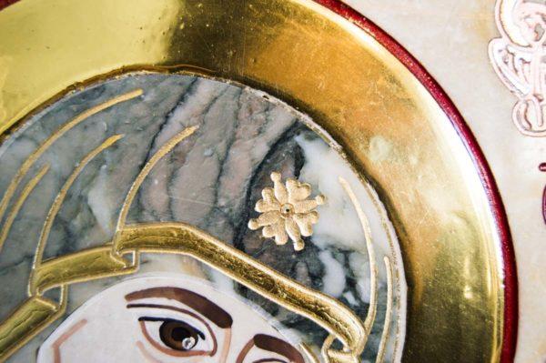 Икона Иверской Божией Матери № 1-25-7 из мрамора, камня, от Гливи, фото 3