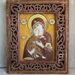 Икона Владимирской Божией Матери № 01 (рельефная) из мрамора, камня, от Гливи, фото 3