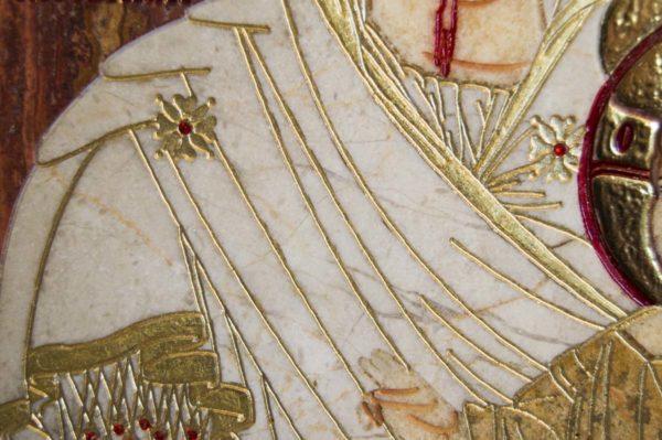 Икона Иверской Божией Матери № 1-25-3 из мрамора, камня, от Гливи, фото 12