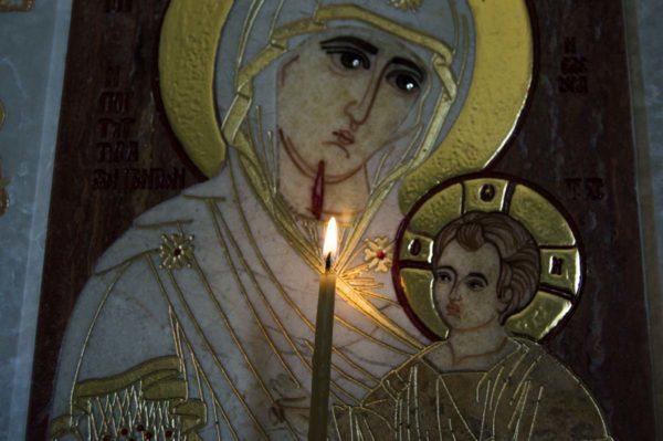 Икона Иверской Божией Матери № 1-25-3 из мрамора, камня, от Гливи, фото 1