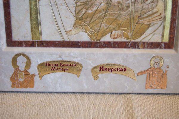Икона Иверской Божией Матери № 1-25-3 из мрамора, камня, от Гливи, фото 10