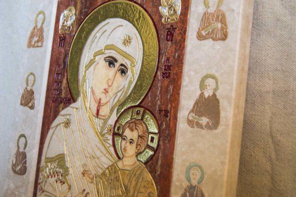 Икона Иверской Божией Матери № 1-25-3 из мрамора, камня, от Гливи, фото 6