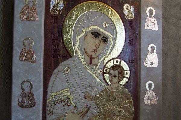 Икона Иверской Божией Матери № 1-25-3 из мрамора, камня, от Гливи, фото 4